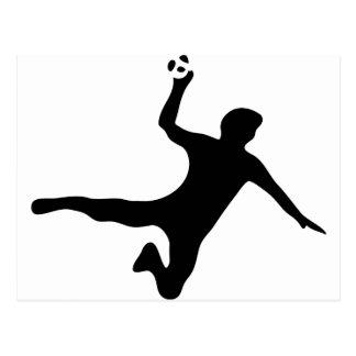 logo noir de joueur de handball carte postale