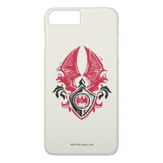 Logo noir rouge de crête de timbre de batte du coque iPhone 7 plus