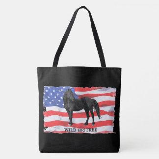 Logo noir sauvage grand Fourre-tout de cheval Tote Bag