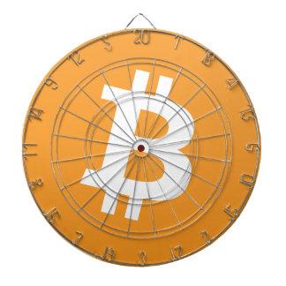 Logo orange et blanc de Bitcoin sur la cible