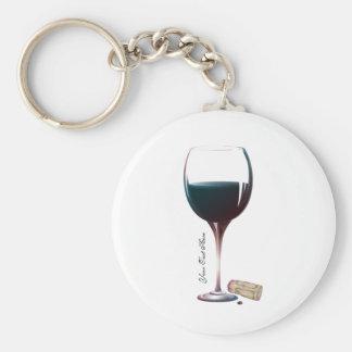 Logo personnalisé par art en verre de vin porte-clé rond