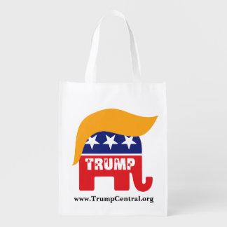 Logo républicain de cheveux d'éléphant de Donald Cabas Épicerie