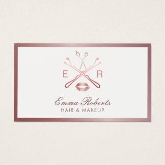 Logo rose de beauté d'or de coiffeur de maquilleur cartes de visite