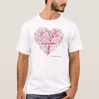 Logo rouge athée de WordCloud de coeur T-shirt