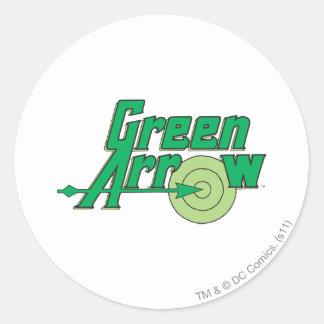 Logo vert de flèche adhésifs ronds