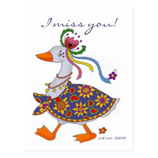 L'oie sort art populaire ukrainien carte postale