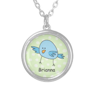 L'oiseau bleu drôle badine la bande dessinée collier
