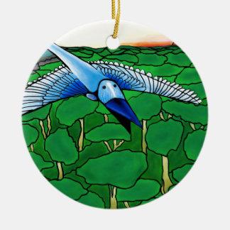 l'oiseau bleu ornement rond en céramique