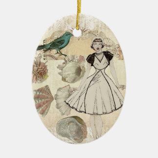 L'oiseau d'art déco scripts la grande fille gatsby ornement ovale en céramique