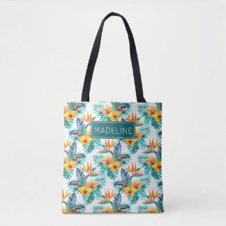 L'oiseau du paradis et le motif | d'orchidée sac