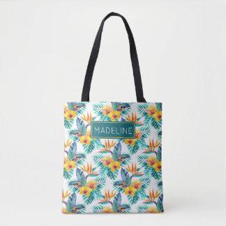 L'oiseau du paradis et le motif | d'orchidée tote bag