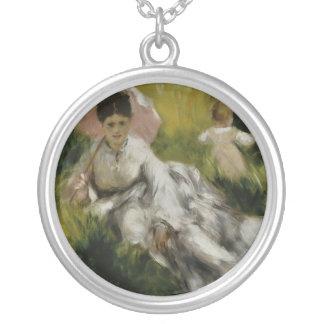 L'ombrelle d'à de Femme et enfant - Auguste Renoir Pendentif Rond