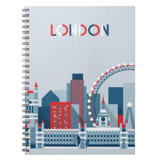 Londres, Angleterre horizon rouge, blanc et bleu Carnet