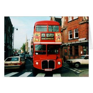 Londres # autobus à deux étages 73 carte de vœux