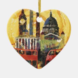 Londres vintage ornement cœur en céramique
