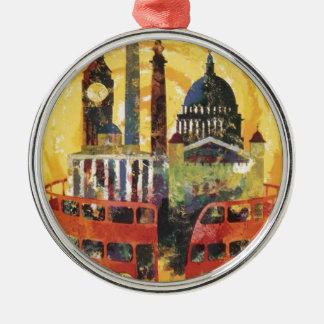 Londres vintage ornement rond argenté