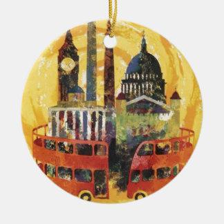 Londres vintage ornement rond en céramique