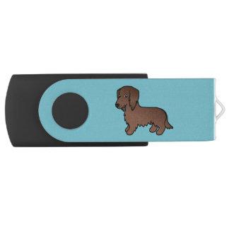 Long chien brun chocolat de bande dessinée de clé USB 2.0 swivel