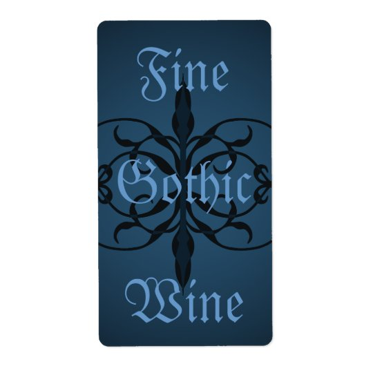 Long étiquette gothique bleu de fantaisie de