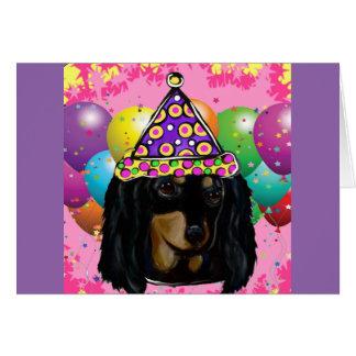 Long noir Doxie de cheveux de partie Carte De Vœux