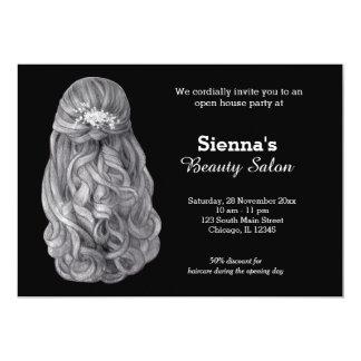 Long salon du coiffeur   du styliste en coiffure   carton d'invitation  12,7 cm x 17,78 cm