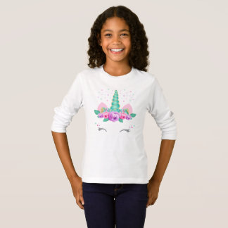 Long T-shirt de douille de licorne