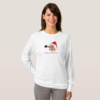 Long T-shirt de douille de Noël effronté de teckel