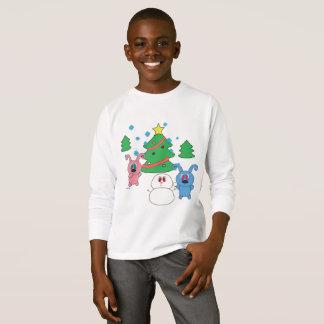 Long T-shirt de jour d'hiver de Noël de douille de