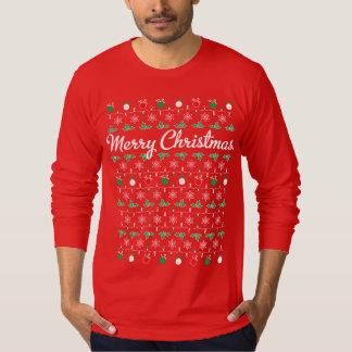 Long T-shirt de rouge de douille de Joyeux Noël