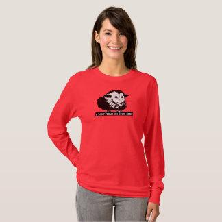 Long T-shirt gainé avec l'opossum et la moelle