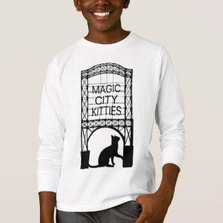 Long T-shirts de douille de ville d'enfants