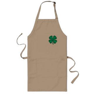 Long tablier de chef de trèfle irlandais chanceux