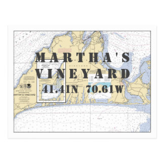 Longitude nautique de latitude de Martha's Cartes Postales