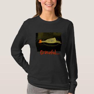 Longue douille de poulet gracieux t-shirt
