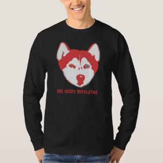 Longue douille T de noir enroué rouge de T-shirt