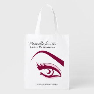 Longue icône d'extension de mèche de cils d'oeil sacs d'épicerie réutilisables