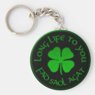 Longue vie à vous énonciation irlandaise porte-clé rond