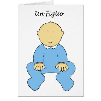 L'ONU Figlio, c'est un garçon, nouveau bébé en Carte De Vœux