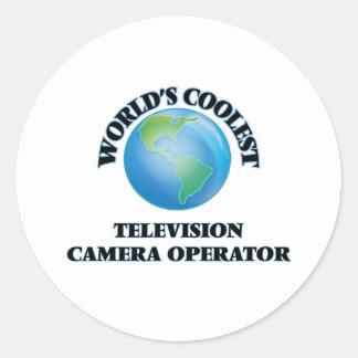 L'opérateur le plus frais de caméra de télévision autocollant rond