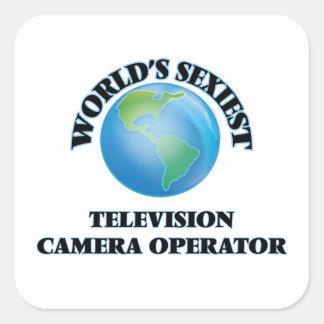 L'opérateur le plus sexy de caméra de télévision autocollants carrés