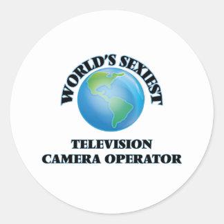 L'opérateur le plus sexy de caméra de télévision autocollants ronds