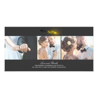 L'or a plongé le mariage noir élégant de plume cartes avec photo