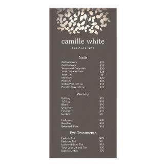 L'or argenté part du menu de listes des prix de