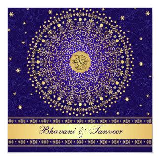 L'or bleu indou de Ganesh met en rouleau Carton D'invitation 13,33 Cm