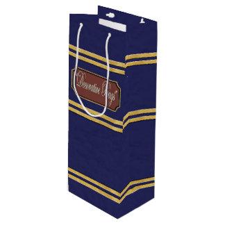 L'or bleu raye le sac de cadeau de vin
