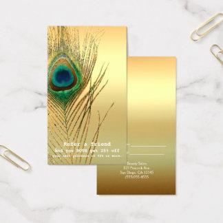 L'or Boho exotique de plume de paon se réfèrent un Cartes De Visite