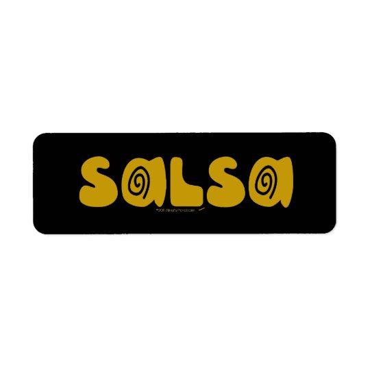 L'or de danse de Salsa tourbillonne Étiquette D'adresse Retour