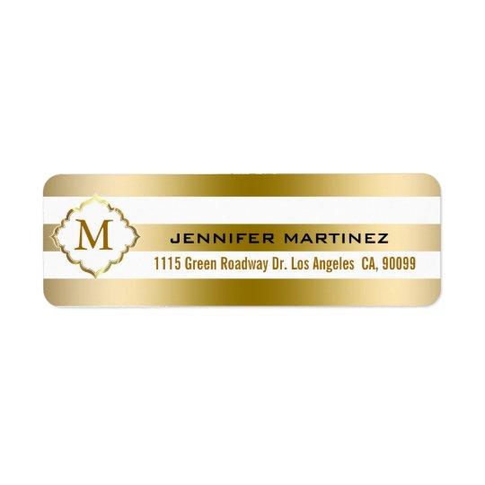 L'or de Monogramed barre le motif géométrique Étiquette D'adresse Retour