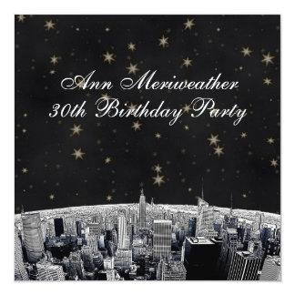 L'or de noir d'horizon gravé à l'eau-forte par NYC Carton D'invitation 13,33 Cm