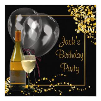 L'or de verre à bouteilles de vin noir équipe la carton d'invitation  13,33 cm